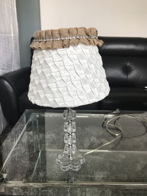 Cute burlap lamp shade with flower lamp stand, can sell separate or together for Sale in Dallas, TX
