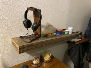 Rustic red wood floating shelf with small Secret hidden space -x3 $40 each for Sale in Oakland, CA