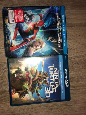 The Amazing Spider Man 2 (Blu-Ray, and DVD). Teenage Mutant Ninja Turtles (3D, Blu-Ray, DVD) for Sale in Kansas City, MO
