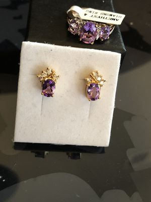 Diamond amethyst ring and earrings set gold plated for Sale in Racine, WI