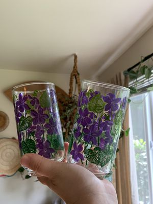 Vintage Purple Floral Libby Glasses for Sale in Issaquah, WA