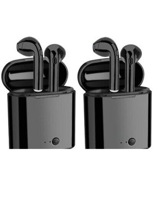 You get 2 Black Sets Wireless Headphones Earbuds Bluetooth Ear Phone Buds with Chargeable Power Bank Case for Android or iPhone iPad Apple like Airpod for Sale in La Puente, CA