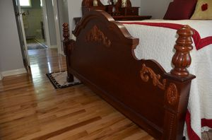 Good Chery wood Queen bedroom set. 3pcs. Dresser, night stand, bed frame. for Sale in Erie, PA