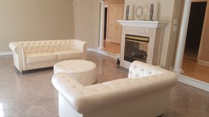 Cream Chesterfield sofa loveseat set NEW for Sale in Baltimore, MD