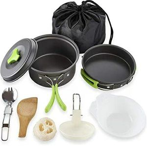 Portable Camping cookware Set 10 Pcs Folding Camping cookware Mess kit for Hiking Backpacking Lightweight Durable Pot Pan Bowls Spork with Nylon Bag for Sale in Ontario, CA