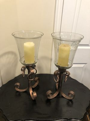 AMAZING Set of 2 Pottery Barn Textured Glass Hurricane & Metal Base Pillar Candle Holders! for Sale in Sandy, UT