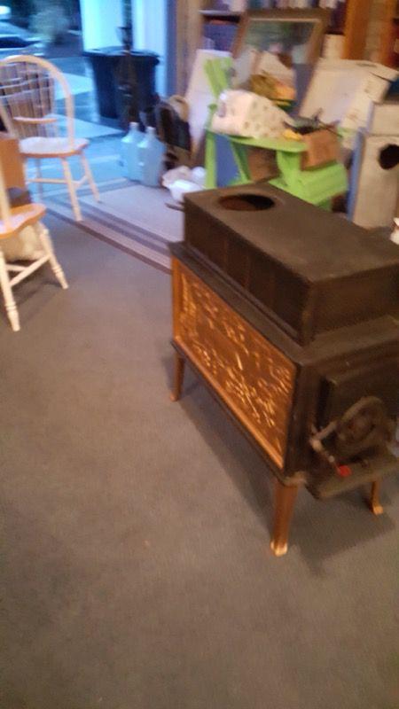 Ornate Vintage Plainsman Cast Iron Wood Stove For Sale In