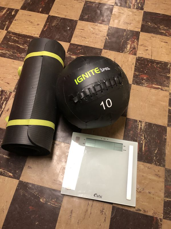Exercise equipment: weight ball, yoga mat, scale