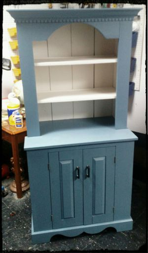 Vintage Solid Pine Painted Hutch / White & Blue Hutch for Sale in Hudson, NH