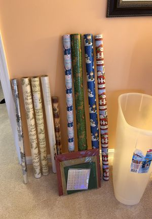 Wrapping paper, Gift boxes, and Rubbermaid storage container for Sale in Springfield, VA