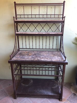 Iron and Stone Tiered Baker's Rack for Sale in Scottsdale, AZ