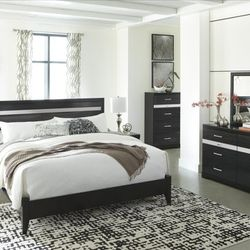 🚚SAME DAY Delivery ⚡4-Piece Queen 🌺Starberry Black Panel Bedroom Set by Ashley ♦️▶️ for Sale in Silver Spring,  MD