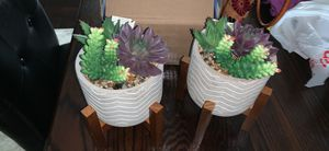 Cement artificial succulent with wood planter for Sale in Cumming, GA