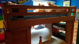 Wooden Bunk Bed Frame w/ desk, drawers, book shelf, ladder for Sale in Foxborough, MA