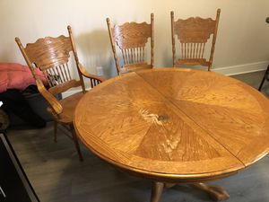 Wooden dining room table & 3 chairs for Sale in Columbus, OH