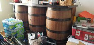 3 Barrel Bar & (3) barrel bar chairs for Sale in Davie, FL