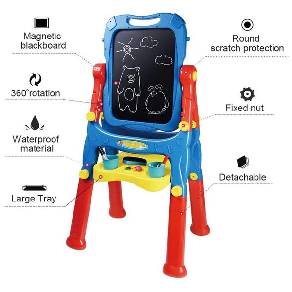 Drawing Board Toys for Boys & Girls Kids Art Easel for Toddlers with Magnetic Whiteboard & Chalkboard, Blue
