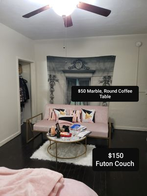 Futon Couch, Futon Bed + Decorative Pillows for Sale in Los Angeles, CA