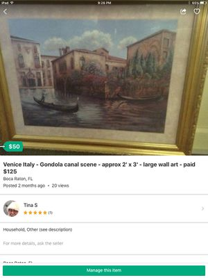 Venice Italy Canals Gondolas scene wall art in frame paid $125 for Sale in Boca Raton, FL