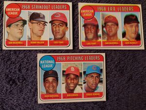 Topps 1970 Baseball Cards-Set of 3-1969 AL Strikeout and ERA Leaders, NL Pitching Leaders-Card #'s 11, 7, 10 for Sale in Cleveland, OH