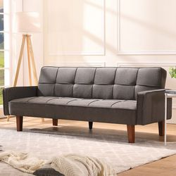 """Vasili Twin 75"""" Wide Linen Tufted Back Convertible Sofa for Sale in Fremont,  CA"""