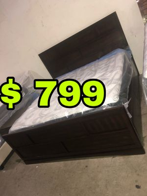 Beautiful new Key West King storage bed with pillow top mattress only 799$!!! Original price 3,579$!!! for Sale in San Leandro, CA