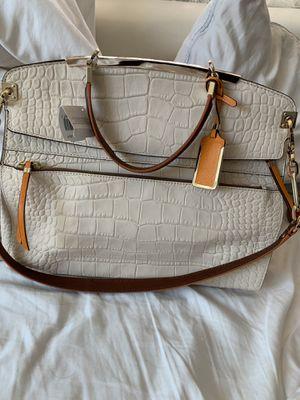 Coach rare Business leather handbag bag crossbody beige Snake skin satchel medium size 12x16 inches looks like hermes birkin bag new authentic for Sale in Garden Grove, CA