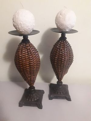 """2 bronze and bamboo candle holder 14"""" for Sale in Pompano Beach, FL"""