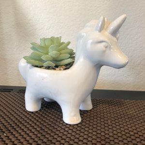 Ceramic Unicorn Figurine With Fake Succulent Plant Artificial for Sale in San Mateo, CA