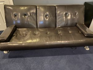 Brown Leather Futon for Sale in Laurel, MD