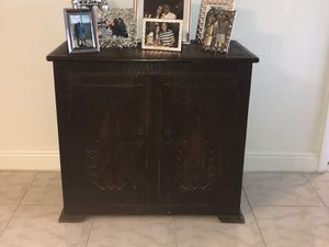 Solid antique wood chest/ vanity / storage for Sale in Miami, FL