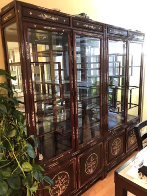 """Selling- 72"""" Rosewood Mother of Pearl Inlay China Cabinet & 72"""" X72"""" Chinese Room Divider for Sale in Coronado, CA"""