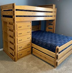 Bunk Bed Bunk & Loft Factory Twin Over Full Sized for Sale in Grove City,  OH