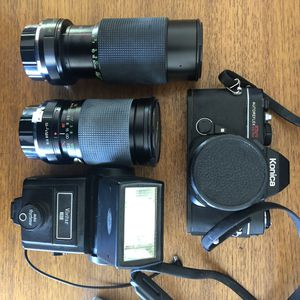 Konica SLR film camera with Vivitar Lenses and Flash for Sale in Los Angeles, CA