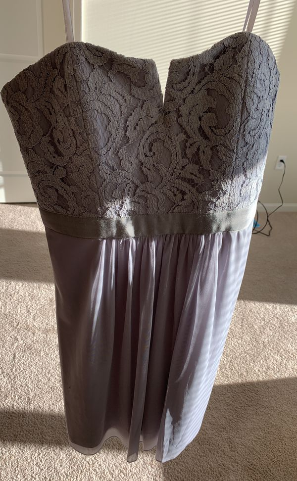 Grey Strapless Lace Tulle Dress