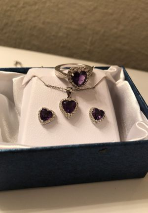 Amethyst and Diamond sterling silver heart ring/necklace/earring set for Sale in Portland, OR