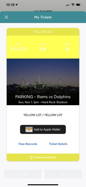 Parking Pass for Rams v. Dolphins Nov 1st 1pm for Sale in Delray Beach, FL