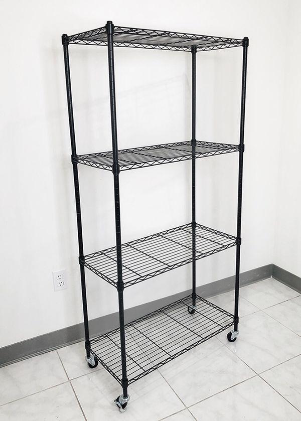 """New in box $50 Metal 4-Shelf Shelving Storage Unit Wire Organizer Rack Adjustable w/ Wheel Casters 30x14x61"""""""