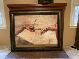 Michelangelo Sistine chapel crackle old world print for Sale in Fowler, CA