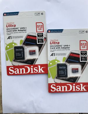 SanDisk Ultra 512 Micro SD Card and Adapter for Sale in Palmdale, CA