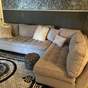 Grey 2 Piece Sectional & Ottoman- EXCELLENT CONDITION for Sale in Decatur, GA