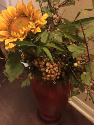 Floor vase with flowers for Sale in Austin, TX