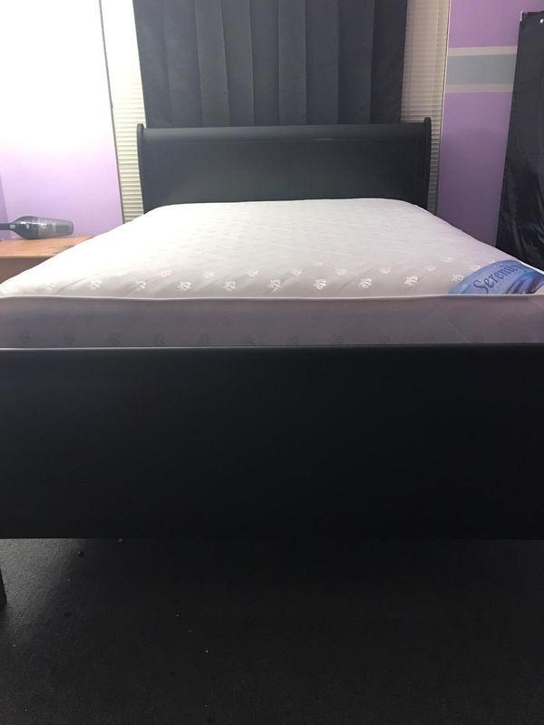 Brand New Full Size Black Wood Sleigh Bed + Mattress Set