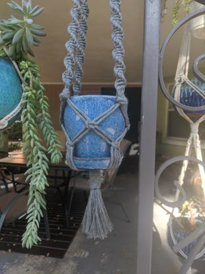 Blue and grey macrame plant hanger for Sale in Orlando, FL
