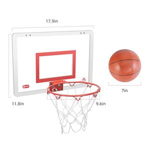 """Basketball Hoop Set for Door & Wall - 18"""" x 12"""" Board, 2 Balls & Pump with Complete Accessories, Basketball Toys Gifts for Kids Boys Teens, for Sale in Orange, CA"""