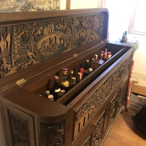 Elaborate hand carved teak liquor bar for Sale in Washington, DC