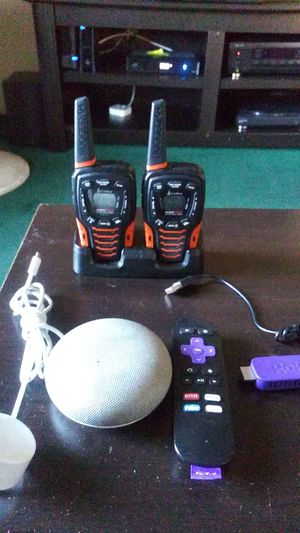 Google home mini, roku stick w/ remote, cobra 22 channel long range walkie talkies (35 mile range) for Sale in Los Angeles, CA