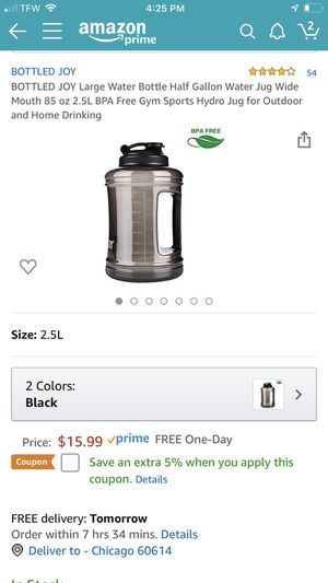 BOTTLED JOY Large Water Bottle Half Gallon Water Jug Wide Mouth 85 oz 2.5L BPA Free Gym Sports Hydro Jug for Outdoor and Home Drinking for Sale in Chicago, IL