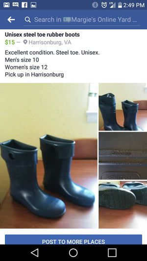 Unisex steel toe rubber boots for Sale in Harrisonburg, VA