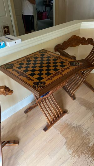 Antique Chess Table & Carved Chair Set for Sale in Casselberry, FL